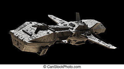 Spaceship on black - side view - Science fiction...