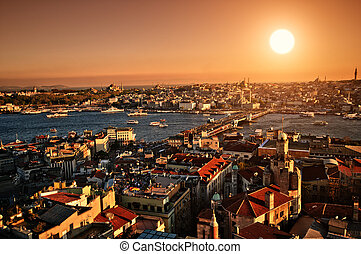 Sunset Istanbul - Setting Sun over Istanbul Panorama