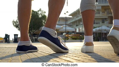 Couple beginning morning jog - Low angle shot of senior...