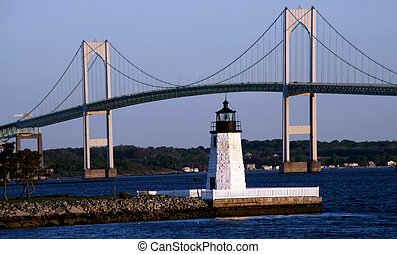 Goat Island Lighthouse - Lighthouse on Goat Island, Newport,...