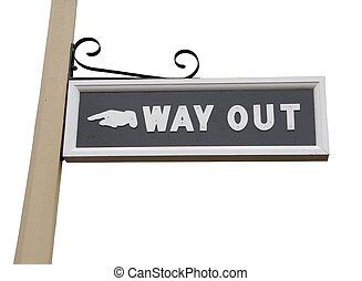 Way out sign - vintage way out sign on wooden post (isolated...