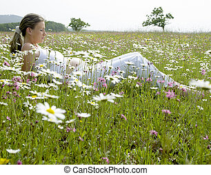 pregnant woman on meadow