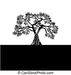Vector Black Olive Tree.
