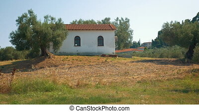 View on building in countryside - View on building with red...