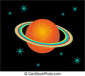 Saturn Planet illustration - The planet Saturn surrounded by...