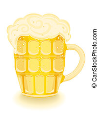 Frothy cold beer in a mug.