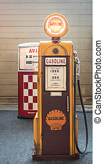 Old fuel pump - Verona, Italy - May 9, 2015: Detail of an...