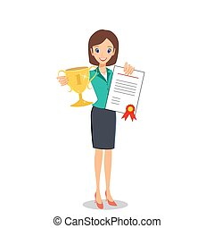 Business woman winner holding prize and certificate -...