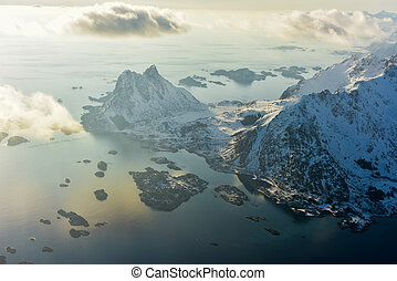 Aerial View Lofoten Islands, Norway - An aerial view of the...