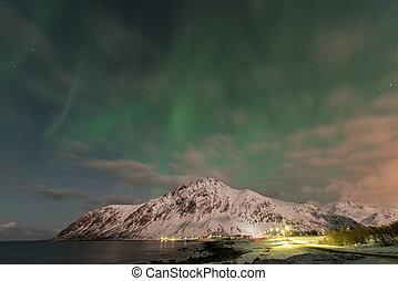 Vareid, Lofoten Islands, Norway - Northern lights over the...
