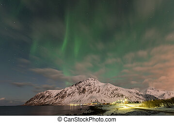 Vareid, Lofoten Islands, Norway - Northern lights over the...