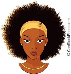 Afro Girl Wearing A Necklace - Vector Illustration of an...