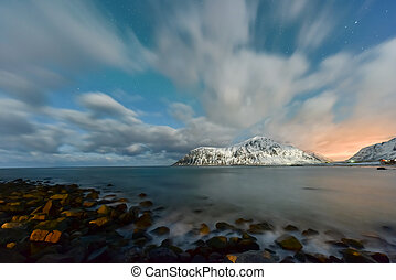 Skagsanden Beach, Lofoten Islands, Norway - Northern lights...