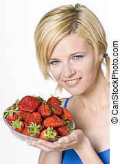 woman with strawberries