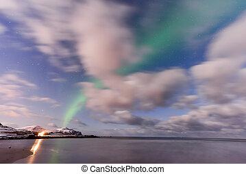 Skagsanden Beach, Lofoten Islands, Norway - Northern lights...