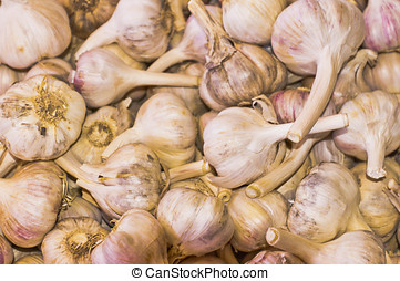 Corms of purple garlic in a roadside farm market.