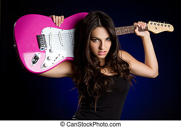 Rockstar Girl - Beautiful rockstar girl with guitar
