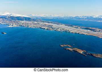 Aerial View - Lofoten Islands, Norway - An aerial view of...