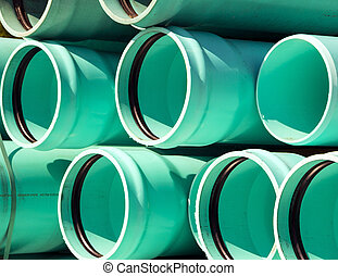 Pipes - Blue green sewage pipes