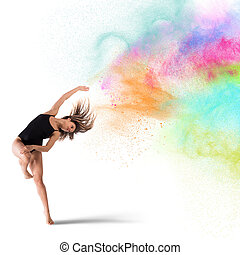 Dance with colored pigments - Agile woman dancer dance with...