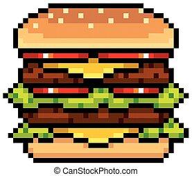 Burger - Vector Illustration of Burger - Pixel design