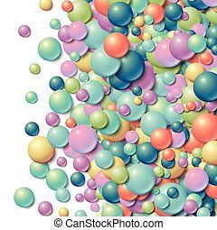 Background frame with scattered messy glowing rubber balls -...