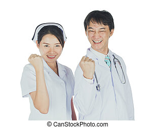 The doctor and nurse smiling isolated with clipping path ,...