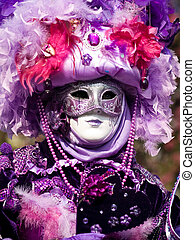 Venitian Carnival in Paris - Performers in costume gathered...
