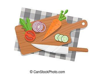 Salad ingredients on cutting board vector set