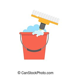 Cleaning equipment vector icon Detergents on white...
