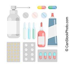 Pills against diseases vector set. Pills in your medicine...
