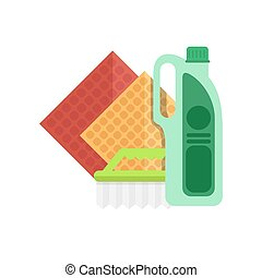 Cleaning equipment vector icon. Detergents on white...