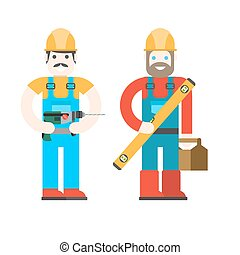 Two workers on white background onstruction workers with...
