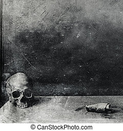 Very scary skull on table. Textured grunge black and white...
