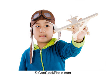 Asian Chinese Boy Playing with Wooden Airplane