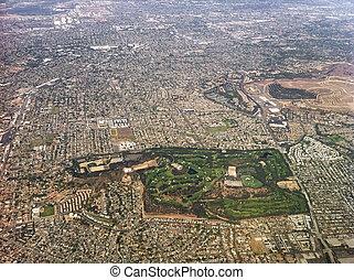 aéreo, EUA, cidade,  Angeles,  Los, vista