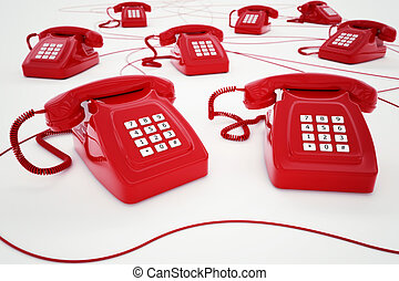 3D rendering of red telephone with wires