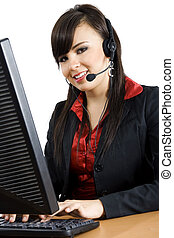 Call Center - Stock image of female call center worker