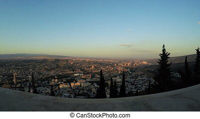 Evening Tbilisi Panorama - hooting historical part Tbilisi,...