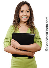 Female Student - Stock image of female student over white...