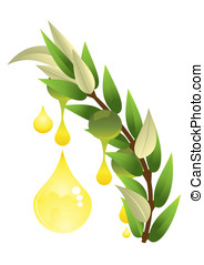 Olive with a drop of oil 3d illustration