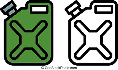 Two fuel canisters or jerrycans - Two outline drawings of...