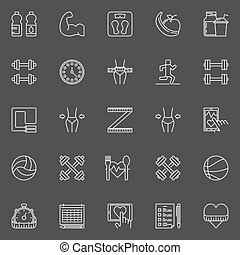 Health and fitness icons - vector set of fitness and a...