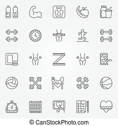 Fitness line icons set - vector collection of health signs...
