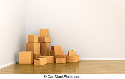 Cardboard boxes in empty room. The concept of moving. 3d...