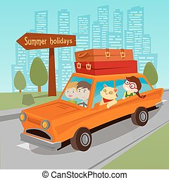 Travel by Car. Family Summer Holidays. Family in Car. Vector illustration
