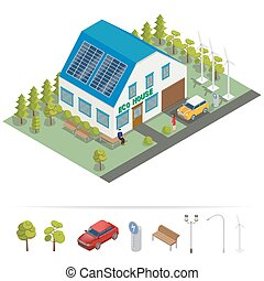 Eco House. Isometric Building. Alternative Energy. House with Sun Batteries. Electric Car. Vector illustration