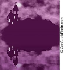 Fairy tale castle silhouette and moon with water reflection