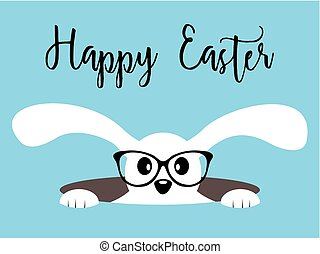 Happy Easter bunny with glasses on blue background
