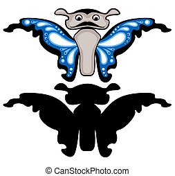 Blue butterfly with silhouette. Isolated
